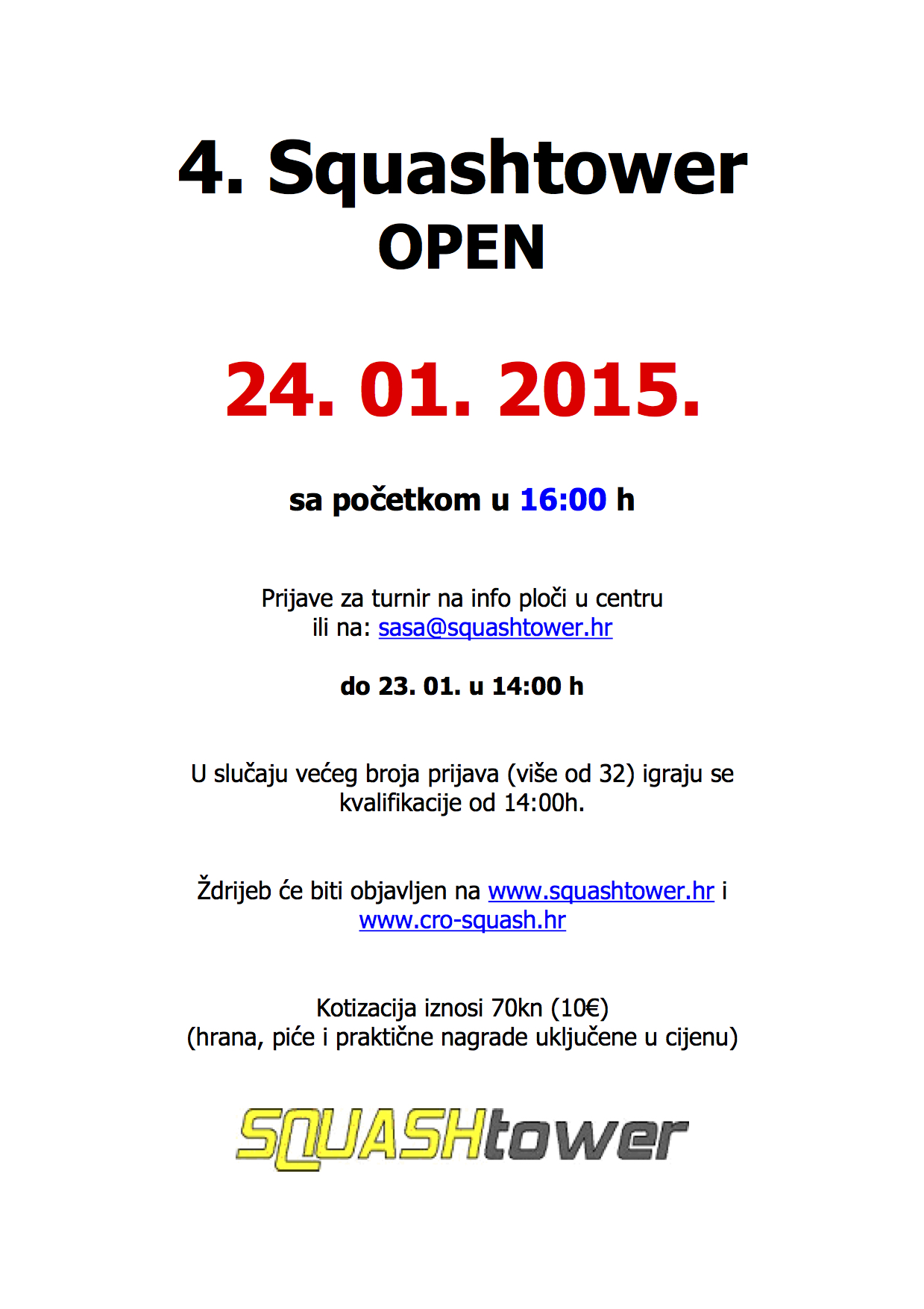 4. SquashTower Open - najava